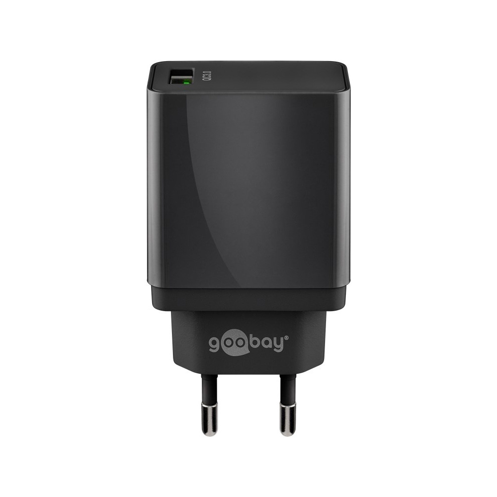 USB-A-Adapter - USB-A-Ladeger-t - CEE 7-16 - USB-A-Adapter - 1 Ports - Quick Charge 3-0 - 3000mA - 18W - Schwarz